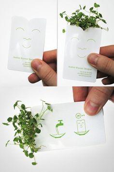 Tarjeta de visita hecha en papel biodegradable con semillas                                                                                                                                                                                 Más