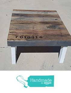 Farmhouse coffee table with multicolored stain, gray skirt and white distressed…
