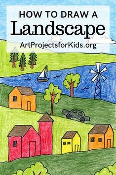 Draw a Landscape · Art Projects for Kids - Art Activities for Kids Easy Art Projects, Projects For Kids, Family Art Projects, Crafts For Kids, Art Drawings For Kids, Art For Kids, Drawing Classes For Kids, Easy Drawings, Watercolor Card