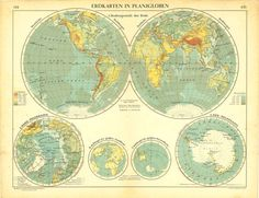 Antique World Map in Hemispheres