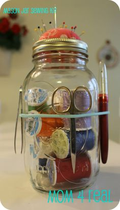 Mom 4 Real: Mason Jar Sewing Kit