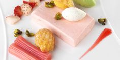 Tangy rhubarb semifreddo is served with madeleines and pistachio cream in this recipe from Frances Atkins. It is a delightful semifreddo for a summer dessert