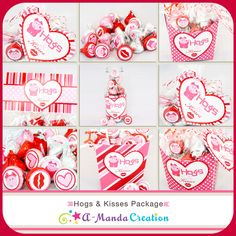 Hogs & Kisses Valentine's Day Printable Gift Bundle a whole bunch of cute piggy Valentine ideas!