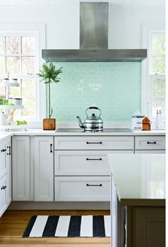 colored subway tile backsplash