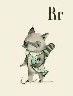 Items similar to R for Raccoon art - Alphabet print - ABC wall art - ABC print - Nursery art - Nursery decor - Kids room decor - Children's art on Etsy Animal Alphabet, Alphabet Print, Alphabet Letters, Kids Alphabet, Nursery Decor Boy, Safari Nursery, Nursery Art, Woodland Nursery, Room Decor