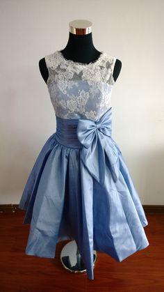 Jahrgang Taft Spitze blau Kleid Brautjungfer Kleid Spitze Kleid Kleid kurze Prom Kleid Abendkleid Heimkehr Brautkleid