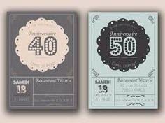 Invitation anniversaire de mariage raffinée et élégante pour 40 ans de vie à deux, ref N50158 ...