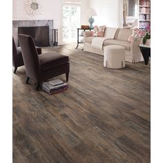 Shop Style Selections 5.43-in W x 3.976-ft L Spalted Woodbark Wirebrushed Wood Plank Laminate Flooring at Lowes.com