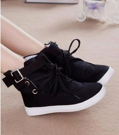 eed8e420a7 Canvas Casual Flat Solid Woman Boot - TUFOR JAYS  koreanstyles Zapatos De  Lona
