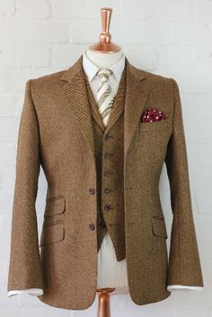 Tweed suits, 3 piece suits, tweed jackets, waistcoats, trousers and overcoats. Wedding suits a speciality Brown Tweed Suit, Brown Suits, Tweed Suits, Grey Suits, Tweed Wedding Suits, Black Suit Wedding, Gentleman Mode, Gentleman Style, Suit Fashion