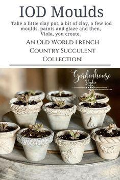 Create a little French Country Flower Pot with IOD Moulds Trimmings 2. Succulent Pots are super easy to make with IOD air dry clay, moulds and a little terra-cotta flower pot. Perfect DIY Home Decor Succulent Pots, Succulents, Buy Clay, Terracotta Flower Pots, Iron Orchid Designs, Handmade Christmas Gifts, Air Dry Clay, Decorating Tools, Paper Clay