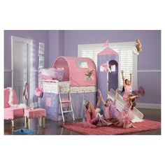 princess castle tent bunk bed with slide multi colored twin powell company - Multi Castle Ideas