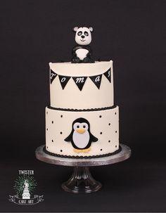 Panda pingviini kakku, pinguin cake