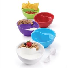These are kinda cool! They're called never-soggy cereal bowls! Can use w chips and salsa, cookies and milk, granola/fruit and yogurt. Only one bowl to clean <3