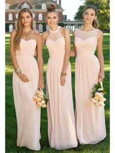 Love this style of the middle dress! ~Pink Bridesmaids Dresses Long Floor  Length Chiffon Plus Size Bridesmaid Dresses Lace Royal Blue Cheap Beach  Maid of ... 646dde2a6a