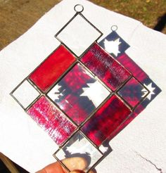 Small Stained Glass Suncatcher  Cranberry by CartersStainedGlass