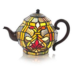Tiffany Style Brianne Teapot Accent Lamp - Blue
