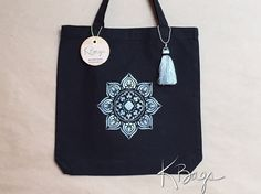 Hand-Painted Canvas Tote Bag  Silver Mandala by KristiBags on Etsy