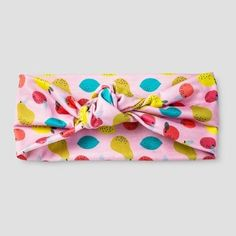 Cat & Jack Girls' Fruit Print Top Knot Bow Headwrap