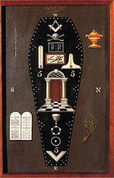 Third Degree Tracing Board. Hand-painted on wood. Josiah Bowring: 1819. [p. 49, MacNulty].