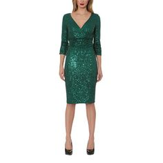 8f056ed7ab8 Sequin Three Quarter Sleeve Dress by NUE by Shani Jersey Knit Dress