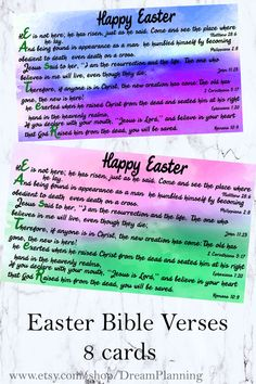 Easter Poems, Easter Bible Verses, Easter Prayers, Bible Verses For Kids, Verses For Cards, Scripture Cards, Chores For Kids, Printable Cards, Sunday School