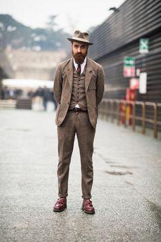 iqfashion:    Matteo Gioli wears a Camo suit with a Super Duper hat, Eton shirt and Dr. Martens shoes.  Source: tmagazine.blogs.nytimes.com