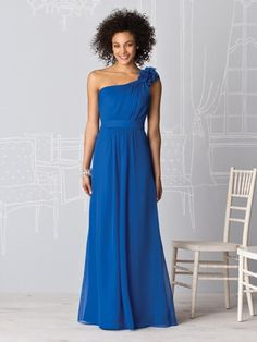 Long Blue Chiffon One Floral Shoulder Bridesmaid Dress VPBNA44