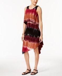 Ny Collection Petite Tie-Dyed Popover Midi Dress - Purple P/XS