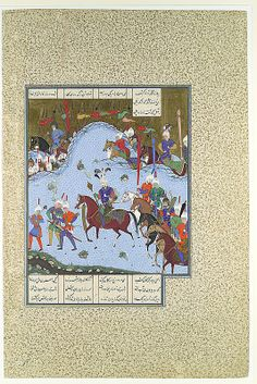 """Bahram Gur Advances by Stealth against the Khaqan,"" Folio from the Shahnama (Book of Kings) of Shah Tahmasp Artist: Painting attributed to Bashdan Qara (active ca. 1525–35) ca. 1530–35 Iran, Tabriz Medium: Opaque watercolor, ink, silver, and gold on paper Dimensions: Painting: H. 9 7/16 x W. 8 1/16 in. (H. 24 x W. 20.5 cm) Entire Page: H. 18 5/8 x W. 12 3/8 in. (H. 47.3 x W. 31.4 cm) Metropolitan Museum of Art 1970.301.63"