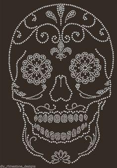 Iron-On Rhinestone Design Sugar Skull Transfer Biker Bling Diamonte Gem Motif #RhinestoneRebelDesigns