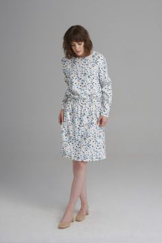 Terrazzo print knee length dress, with folded detail long sleeve and elastic waist. Terrazzo, Anna, Fall Winter, High Neck Dress, Long Sleeve, Style Inspiration, Outfits, Board, Dresses