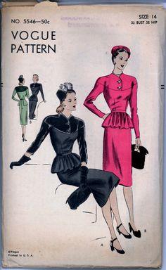 Vogue 5546 | 1940s One-piece dress with Peplum