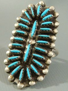 *BEN EUSTICE* Zuni Old Pawn *LARGE* Turquoise NEEDLEPOINT & Sterling Silver Ring #ZUNIOLDPAWN