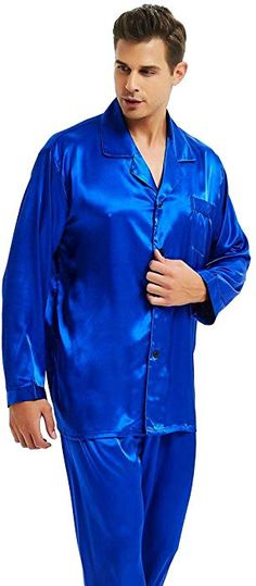 f3c5e4df9789 Mens Silk Satin Pajamas Set Sleepwear Loungewear Invy S at Amazon Men's  Clothing store: