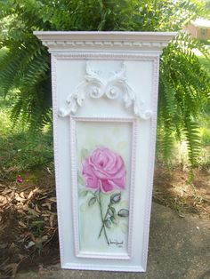 Shabby, vintage chic painting of single pink cottage rose.