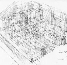 Inside temple drawing