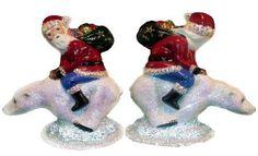 INO Schaller Paper Mache Santa Riding Polar Bear Christmas Candy Container