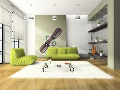 Marvelous Green Sofas Arts Modern Style Wooden Floor Room With White Rug And Bright Living Room Interior Combined With Creative Wall Shelving White Carpet, White Rug, Living Room Interior, Living Room Furniture, Modern Design Pictures, Green Chandeliers, Green Furniture, Green Sofa, Traditional House