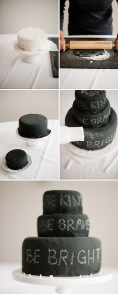 chalkboard birthday cake & candy chalk Recipe: Edible Chalkboard Birthday Cake and Candy Chalk Cake Frosting Recipe, Cake Icing, Fondant Cakes, Cupcake Cakes, Bolo Chalkboard, Birthday Chalkboard, Cake Decorating Techniques, Cake Decorating Tutorials, Fancy Cakes