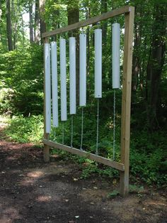 PVC Pipe Wind Chime Station on the Sensory Trail at Maryland Therapeutic Riding. www.horsesthatheal.org