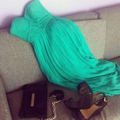 Buy Dresscode 2014 Mint Green Prom Dresses Long Bridesmaid Dress Formal Dresses at Wish - Shopping Made Fun Pastel Outfit, Green Chiffon Dress, Green Dress, Mint Dress, Chiffon Dresses, Mint Maxi, Flowy Dresses, Dress Black, Outfits