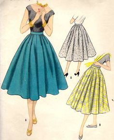 "1950s Misses' Skirt with Outside or Inside Hip Darts Vintage Sewing Pattern, McCall's 3307 waist 26"" uncut. $12.00, via Etsy. Hip darts..... Intresting"