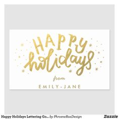 Shop Happy Holidays Lettering Gold Foil Christmas Classic Round Sticker created by PhrosneRasDesign. Happy Holidays, Christmas Holidays, Round Stickers, Custom Stickers, Customized Gifts, Lettering, Gold Foil, Stationery, Tags