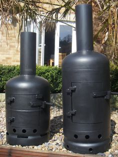 Two great rocket stoves made from recycled gas bottles