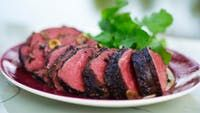 Slow-cooked Beef Fillet with Crushed Black Pepper and Balsamic Recipe : Maggie Beer Recipes Slow Roast Beef, Slow Cooked Beef, Beef Ribs, Beef Fillet Recipes, Meat Recipes, Cooking Recipes, Healthy Recipes, Savoury Recipes, Yummy Recipes