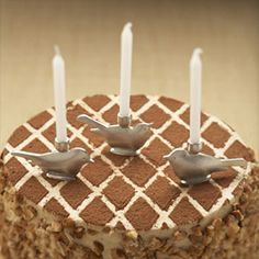 Bird Birthday Candleholders - Lead-free pewter and stainless steel. Set of six.
