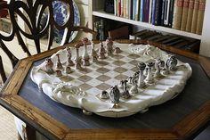 """Bunny Mellon's Oak Spring Farm.   A rare Meissen """"sea life"""" chess set, circa 1924-34."""