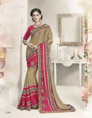 Ftrendy Clay, pink Embroidered Silk georgette Saree