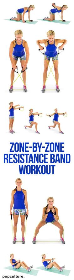 VIDEO: Zone-by-Zone Resistance Band Workout. One of the most underrated pieces of equipment is the resistance band! Work your ENTIRE BODY with this little rubber band in the comfort of your living room. Burn fat and build muscle. Popculture.com #fitness #womensathomeworkout #resistanceband #workout